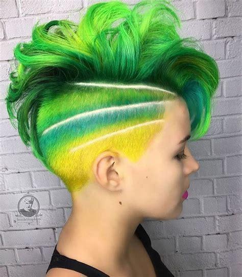 colored undercut 1000 ideas about green hair streaks on hair