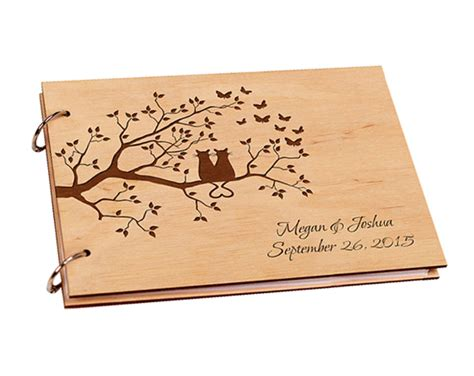 engagement picture guest book personalized wooden wedding guestbook engagement guest