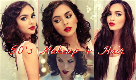 50 s makeup amp faux curly bob for long hair tutorial