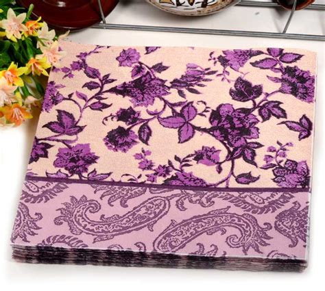 Decoupage Placemats - 40pcs food grated paper napkin flower design vintage
