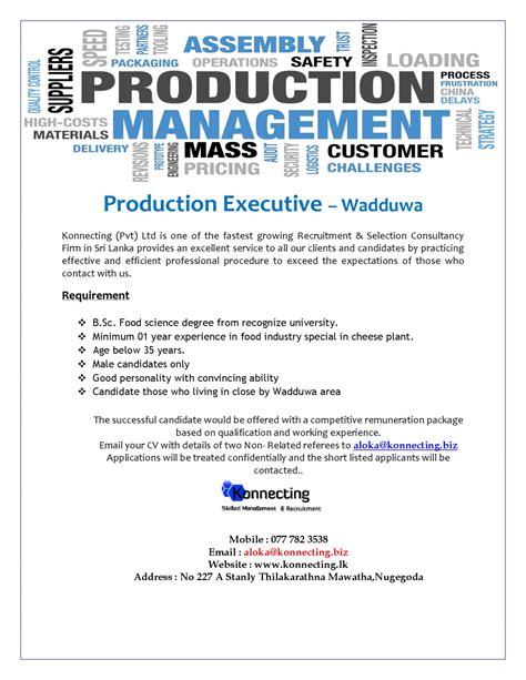 What Is The Minimum Experience Required For Executive Mba by Production Executive Fmcg Vacancy In Sri Lanka