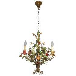 Chandelier Flowers Tole Chandelier With Flowers At 1stdibs