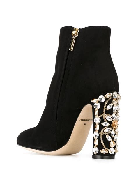 dolce and gabbana boots dolce gabbana embellished heel boots in black lyst