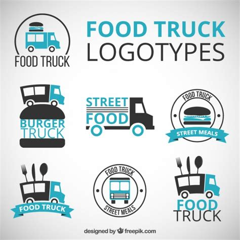 free food truck logo design hand drawn food truck logos with blue details vector