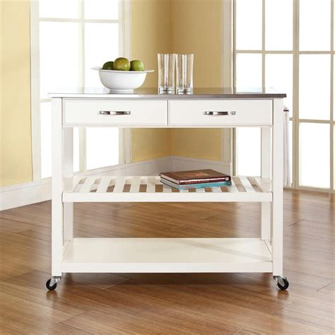 Kitchen Cart With Stainless Steel Top by Crosley White Kitchen Cart With Stainless Steel Top