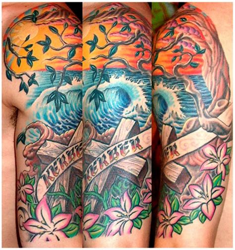 ocean tattoo quarter sleeve memorial style multicolored ocean shore half sleeve tattoo