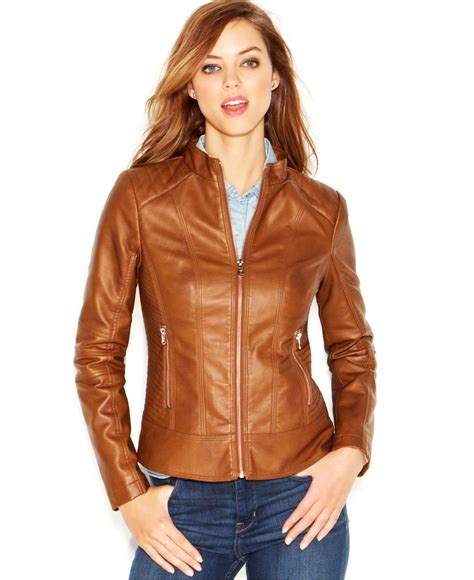 womens brown moto brown faux leather moto jacket outdoor jacket