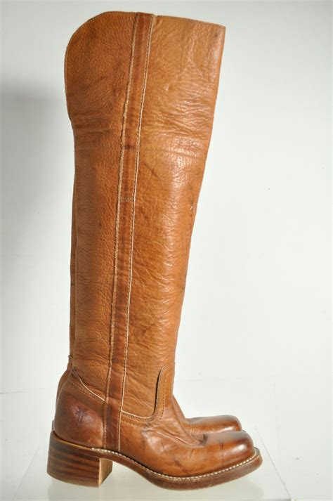 frye high heel boots frye leather knee high stacked heel cowboy boots size