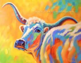 paintings by theresa paden abstract longhorn cow painting