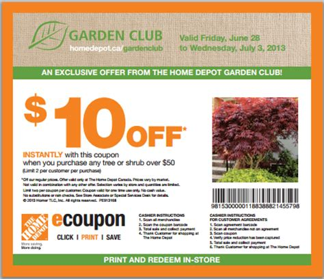 the home depot garden club coupon get 10 canadian