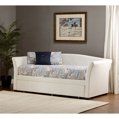 Montgomery Daybed with Trundle, White Faux Leather