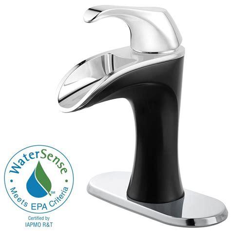 black chrome bathroom faucets pfister 4 in centerset 1 handle bathroom faucet in chrome and matte black lf 042 brcb