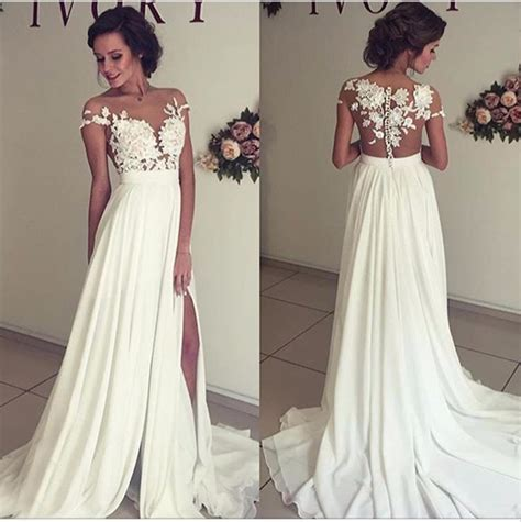 2018 Summer Chiffon Wedding Dresses Lace Top Short Sleeves