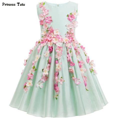 Dress Biru Flower Floral beautiful light green flower princess dress wedding pageant gowns
