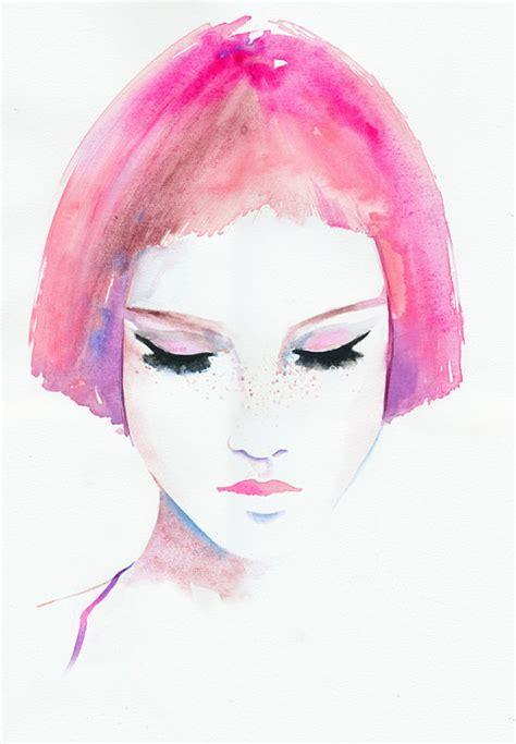 fashion illustration hair pink hair print fashion illustration watercolor fashion