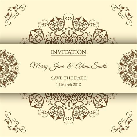 free vintage wedding invitation vector vintage wedding invitations with floral ornaments in