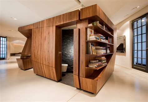 Loft Furniture by Modern Loft With A Freestanding Centralized Wood Veneer