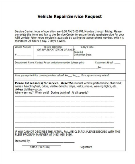 service request form download our spare parts request
