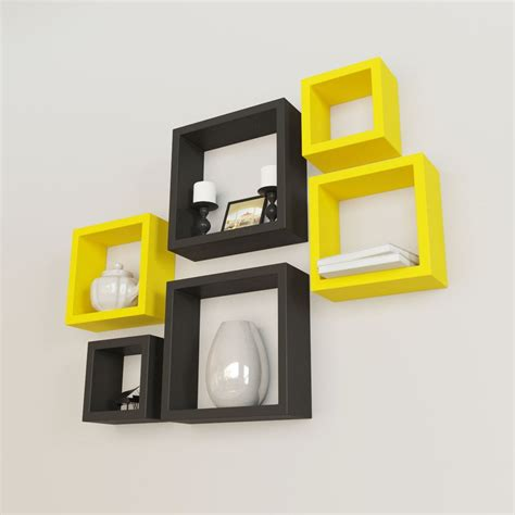 square shelves wall home decor wall shelves rack unit yellow black