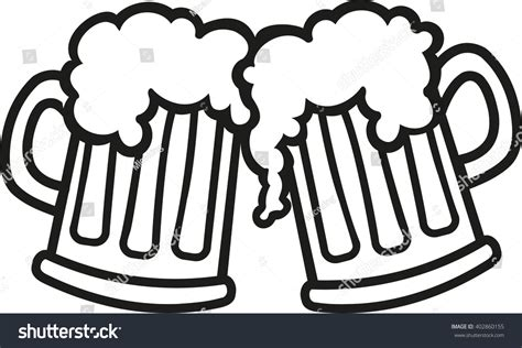 cartoon beer black and white beer mugs cartoon cheers stock vector 402860155 shutterstock