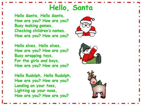 googlechristmas songs for the kindergarten hello santa song and song chart crafts preschool songs