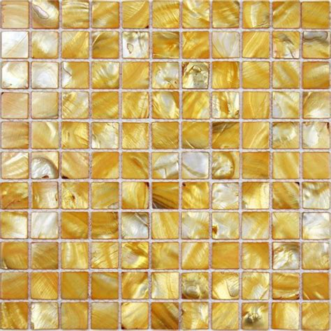shell tiles 100 yellow seashell mosaic mother of pearl
