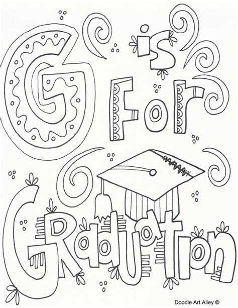 graduation coloring pages doodle art alley
