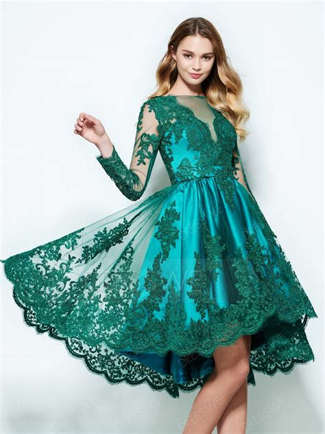 Longdres Lowo Melati vintage sleeve lace applique high low homecoming dress 12230531 homecoming dresses 2017