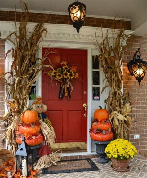 thanksgiving home decorating ideas 30 cozy thanksgiving front door d 233 cor ideas digsdigs