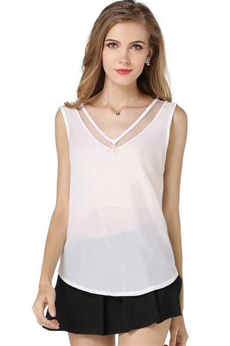 Set Sleeve Mesh Top Camisole white mesh v neck chiffon tank top 025997 s tank