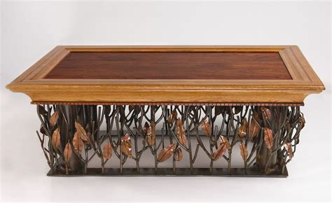 Hand Crafted Mesquite Steel And Copper Coffee Table By Copper Coffee Tables