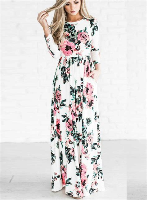 Sleeve Maxi Dress sleeve floral printed maxi prom dress oasap