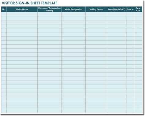 20 Sign In Sheet Templates For Visitors Employees Class Patient Etc Visitor Sign In Sheet Template