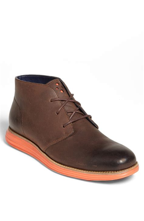 cole haan boots mens cole haan lunargrand chukka boot in brown for