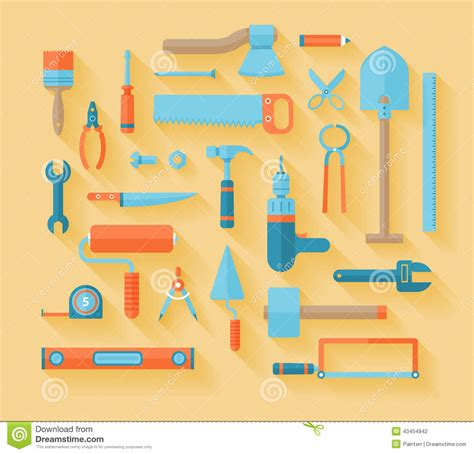 working tools flat icon set stock vector image 40282698 flat working tools icon set stock illustration image