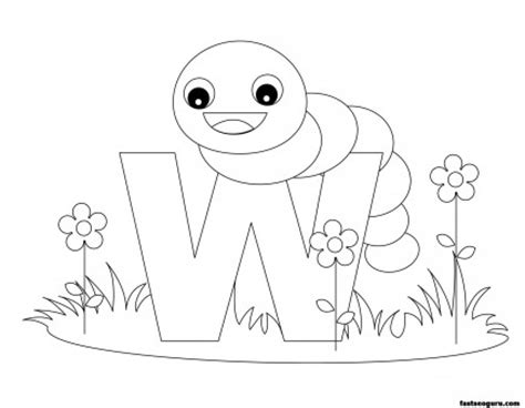 W Is For Worm Coloring Page by Printable Animal Alphabet Worksheets Letter W Is For Worm