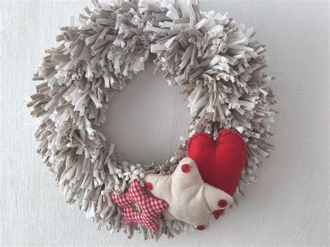 decoracion navidad hecha a mano corona navidad hecha a mano corona trapillo beige y