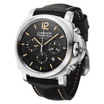 Panerai Daylight Silver Numb Brown Leather pam00356 pre owned panerai chrono daylight steel