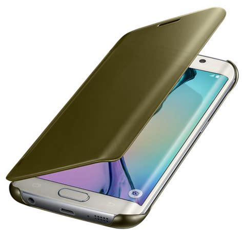 Samsung Original Clear Cover For S6 Edge Gold husa clear view cover gold pentru samsung galaxy s6 edge
