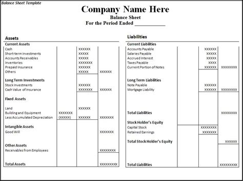 Balance Sheet Template Download Page   Word Excel Formats
