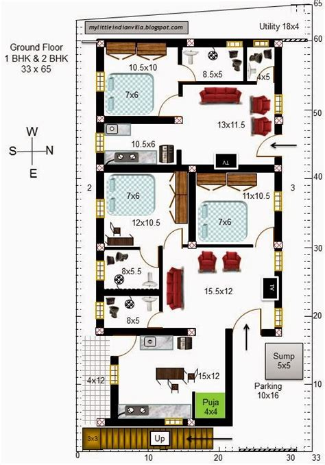 2bhk house plans my little indian villa 47 r40 1bhk and 2bhk in 33x65