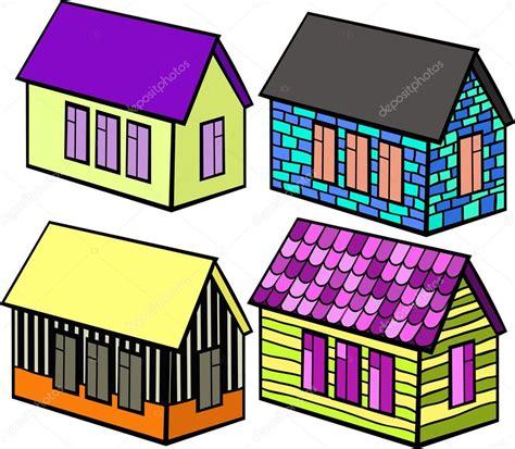 imagenes de casas navideñas animadas conjunto de casas de madera y ladrillo dibujos animados