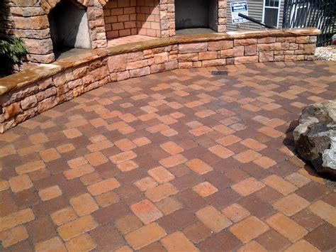 brown concrete paver patio pavers