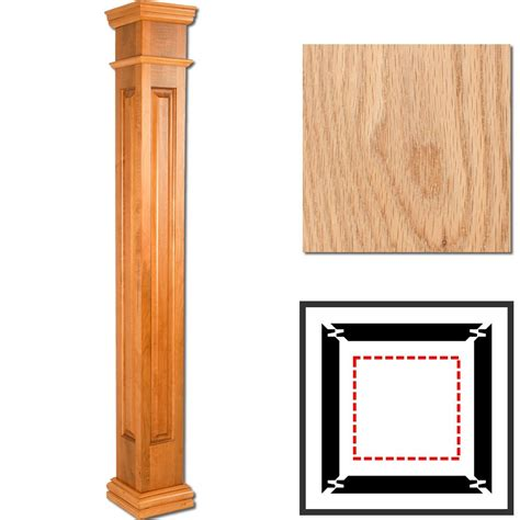 Prairie Style House Design oak wooden columns square raised panel interior columns