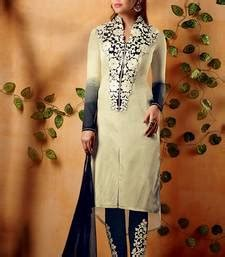 buy heavy designer white and blue cotton satin