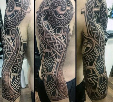 celtic quarter sleeve tattoo designs 100 celtic knot tattoos for men interwoven design ideas