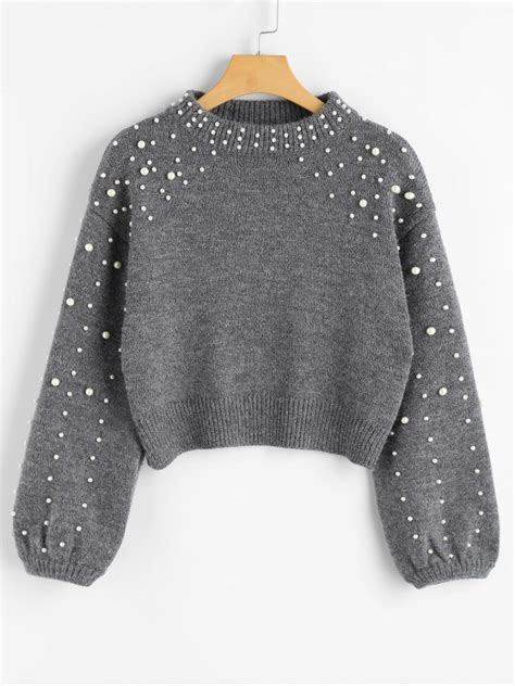 faux pearl mock neck sweater gray sweaters m zaful
