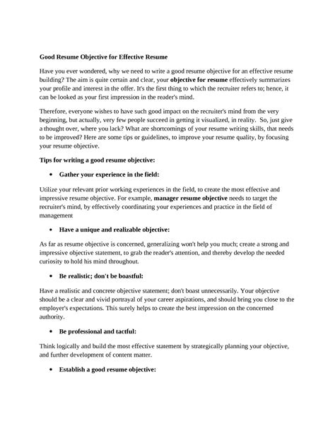 Excellent Resume Objective by Great Resume Objectives Berathen