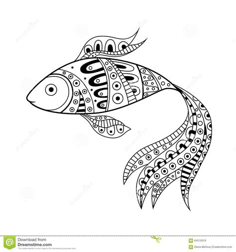 strumming pattern white trash beautiful black and white fish illustration royalty free
