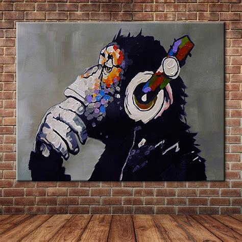 funny dj monkey  headphones listen  oil painting